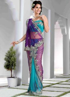 Purple And Turquoise Net Saree
