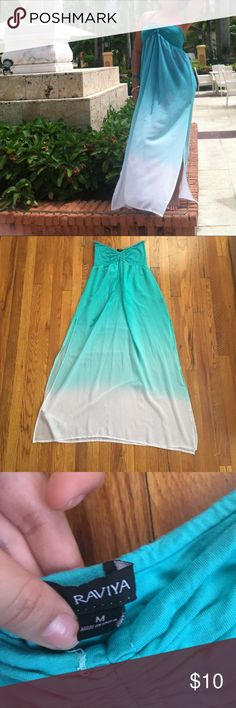 Aqua ombré cover up This gorgeous aqua swim suit cover up is perfect for the summer! Has two slits and it flows beautifully in the breeze! Dresses Maxi