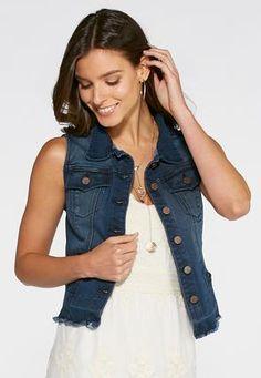 5f4102435e0 Cato Fashions Release Hem Denim Vest-Plus  CatoFashions Plus Size Women