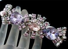 Vintage Purple Pink Rhinestone Bracelet Runway High End Silver Tone Estate Wide | eBay