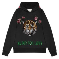 Gucci Embroidered Hooded Sweatshirt (52.380.225 VND) ❤ liked on Polyvore featuring tops, hoodies, black, embroidered hoodie, sweatshirt hoodies, embroidered hooded sweatshirts, gucci hoodie and gucci top