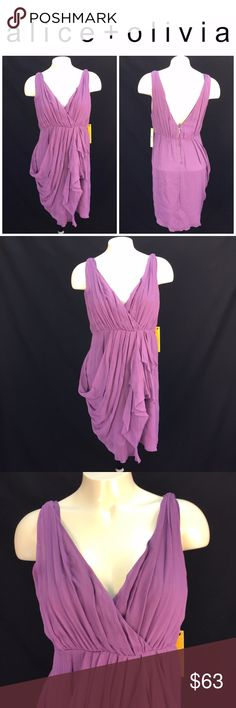 """NWT Alice + Olivia Dress Sz M Dusty Plum 100% Silk *  New with original manufacturer's tags attached silk draped sleeveless dress by Alice + Olivia; size M * Lovely Grecian-style draping in front; exposed zipper closure in back; lined; asymmetrical hemline * Please see below for measurements; all measurements taken with garment lying flat.  Please see all photos for complete condition assessment.  Shoulder to Shoulder: N/A"""" Armpit to Armpit (Bust): 17"""" Waist:  15"""" Overall Length : 35""""…"""