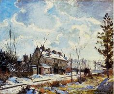 Louveciennes Road: Snow Effect by Camille Pissarro Handmade oil painting reproduction on canvas for sale,We can offer Framed art,Wall Art,Gallery Wrap and Stretched Canvas,Choose from multiple sizes and frames at discount price. Paul Cezanne, Renoir, Claude Monet, Camille Pissarro Paintings, Snow Effect, Gustave Courbet, Impressionist Artists, Post Impressionism, Pointillism