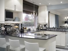 Gray and White Kitchen: The mosaic glass tile backsplash is stunning! Designed by HGTV's Candice Olson.