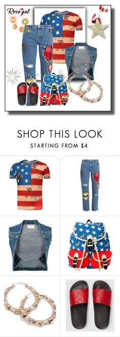 """THE FLIP FLOP FLAG SWAG"" by g-vah-styles ❤ liked on Polyvore featuring House of Holland, Maison Margiela, Forever 21 and Gucci"