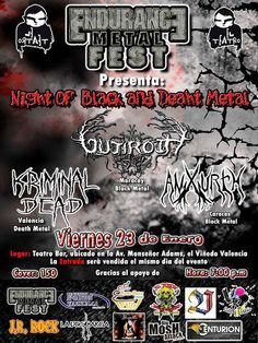 "Cresta Metálica Producciones » El Teatro Bar Valencia & Endurance Metal Fest presentan: ""Night Of Black And Death Metal: Gutiroth, Kriminal Dead y Anxurth"" // 23 Enero 2015"