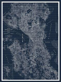 Seattle Map Map of Seattle Blueprint Map Pacific by MondoMappa