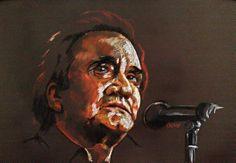 Johny Cash, pastel 50x70cm
