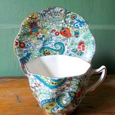 Paisley Chintz Cup & Saucer Rosina from vermontvintage on Ruby Lane