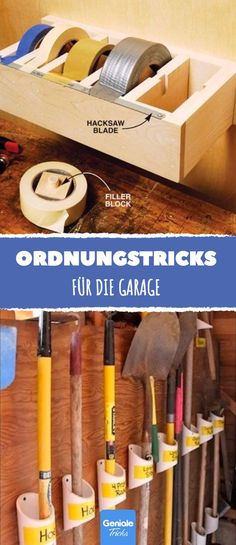 Everyone with a garage needs at least 1 of these 21 ingenious order tricks! - Everyone with a garage needs at least 1 of these 21 ingenious order tricks! Diy Garage Storage, Garage Organization, Tool Storage, Woodworking Shop, Woodworking Plans, Woodworking Projects, Garage Shop, Garage House, Rustic Wood Furniture