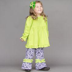 Black White Floral Ruffle Pants Lime Empire Ruffle Cotton Shirt 11/12