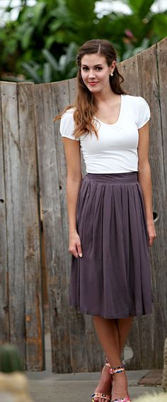 Liking the pleated skirt look and preferrably with pockets and elastic waistbands!