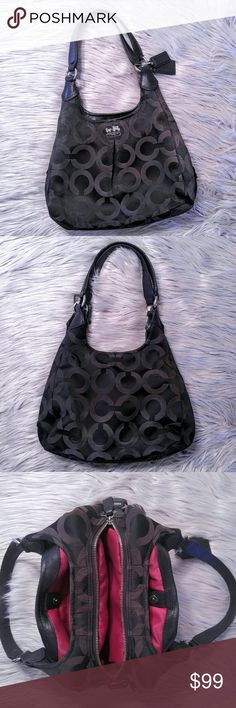 Coach Madison Maggie shoulder bag Coach Madison Maggie shoulder bag This is my lowest price.  Good used condition with some wear on handles. Recently cleaned and stored with dryer sheets inside. No pen marks inside. Red liner black outer. Hang tags on exterior handle. Lots of pockets inside. Three separate compartments with zippered middle. Easy access to all your essentials. Coach Bags Shoulder Bags