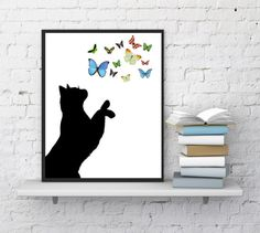 Cat silhouette print Cat is playing with by InstantDownloadArt1
