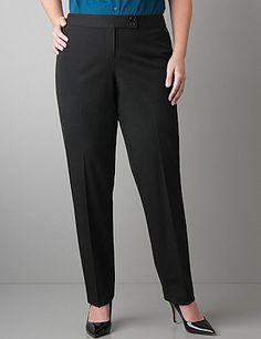 Designed for maximum comfort and a curve-hugging fit, our Smart Stretch straight leg pant is a stylish choice for work or weekend. Specially-designed fabric offers 2-way stretch for great shape retention and easy care so it resists wrinkles and fading. Back pockets, tabbed double-button and zip fly closure complete the look.   lanebryant.com