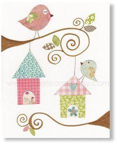 Kids wall art - baby nursery decor - nursery wall art - children wall art - personalized - birds nursery - Birdhouses print on Etsy, Bird Nursery, Baby Nursery Decor, Nursery Prints, Nursery Wall Art, Kids Room Art, Art Wall Kids, Art For Kids, Art Children, Children Garden