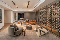 Luxury Bel-Air Property With Immense Swimming Pool Wine Cellar Modern, Wine Cellar Design, Bel Air, Luxury Dining Room, Luxury Living, Home Wine Cellars, Indoor Outdoor Living, Lounge, Decoration