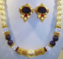 Vintage Signed Lapis Crystal Faux Pearl Gold Tone Necklace Earrings