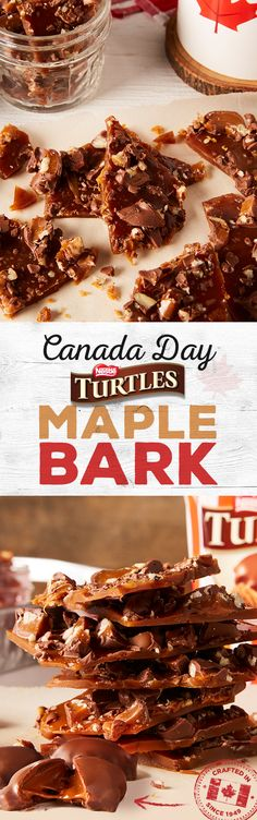 Maple Bark It doesn't get much more Canadian than TURTLES and Maple. Celebrate Canada 150 with a new take on one of Canada's favourite treats!It doesn't get much more Canadian than TURTLES and Maple. Celebrate Canada 150 with a new take on one of Canada's Just Desserts, Delicious Desserts, Yummy Food, Tasty, Candy Recipes, Baking Recipes, Dessert Recipes, Syrup Recipes, Fun Recipes