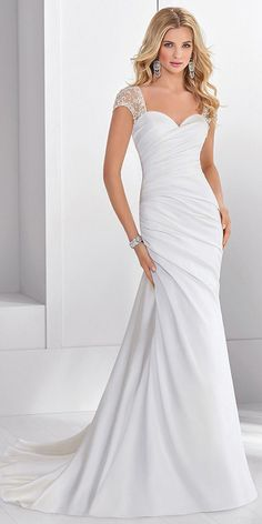 Modest Tulle & Satin Sweetheart Neckline Sheath/Column Wedding Dress With Beaded Embroidery