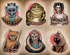 Star Wars Traditional Tattoo Flash Set 2 por ParlorTattooPrints