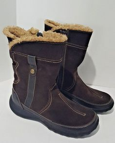 0defb7612eb CLARKS Bendables ANDES Suede Leather Faux Fur Lined Zip Boots Women s SIZE  7 M  Clarks