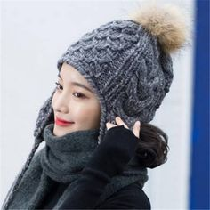 e17618a425a92 Plain gray cable knit hat with ear flaps for women winter Fur pom pom hats