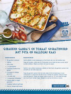 Gebakken gamba's en tomaat gegratineerd met feta en halloumi kaas - Lidl Nederland