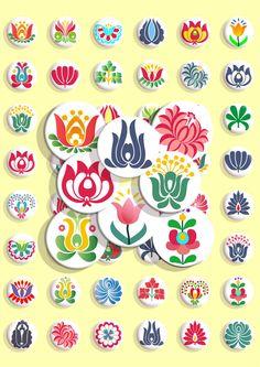 Sofort-Download - Digital Collage Sheet - traditionelle Volkskunst - Stickerei - 1 x 1 Zoll (25 mm)-Circles - JPG- & -PNG-Bilder