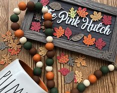 The Pink Hutch Wood Bead Garlands by ThePinkHutch on Etsy Wood Bead Garland, Bunting Garland, Beaded Garland, Garland Ideas, Buntings, Garlands, Bead Crafts, Diy Crafts, Wood Ornaments