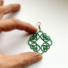 Aqua lace earrings  tatted lace beaded earrings  by Ilfilochiaro