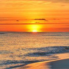 sun melts into the Gulf at sunset at Pensacola Beach. Pensacola Beach, Destin Beach, Big Island Hawaii, Island Beach, Small Island, Sunset Pictures, Beach Pictures, Pictures Of The Sun, Sunset Pics