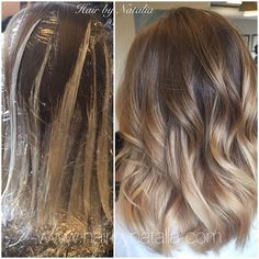 Balayage hair painting on mid length hair.  Balayage in Denver, Balayage…