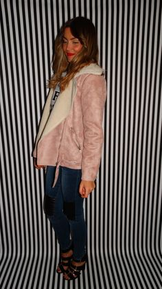 Pink suedette flying jacket lined with faux sheepskin, side pockets and belted hem. Bomber Jacket, Pockets, Pink, Style, Fashion, Swag, Moda, Fashion Styles, Pink Hair