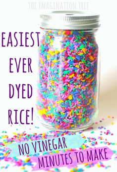 Way to Dye Rice for Sensory Play This is the best ever way to dye rice for sensory play! No vinegar- takes minutes!This is the best ever way to dye rice for sensory play! No vinegar- takes minutes! Sensory Boxes, Sensory Table, Infant Activities, Preschool Activities, Indoor Activities, Family Activities, Creative Activities For Children, Activities For 4 Year Olds, Art Activities For Toddlers