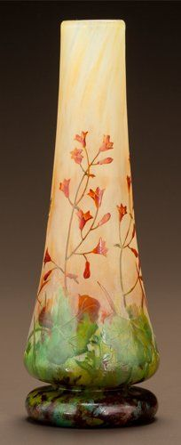 Art Glass:Daum, DAUM ETCHED AND ENAMELED GLASS FLORAL VASE. Circa 1900. CameoDAUM, NANCY with the cross of Lorraine. Ht. 8-1/2 in.. ...