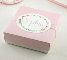 Personalized Bridesmaid gift box in pink with organza ribbon | DressYourGift See more here: https://dressyourgift.myshopify.com/collections/boxes-w-lids/products/bridesmaid-gift-box-personalized-gift-box-jewelry-gift-box