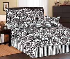 "11Pcs Full Beverly Microfiber Bed in a Bag Set Black by KingLinen. $74.99. This beautiful comforter set features floral print on soft microfiber fabric. 3 decorative pillows included.FeaturesSize: FullColor: Black/White Machine Washable This set includes:1  Comforter (78""x86"")2  Shams (21""x27""+3"")1  Bedskirt(54""X75""+14"")2  Square Cushions(18""x18"")1  Neckroll(9""x16"")Plus 300 Thread Count Cotton Sheets:2 Standard pillowcases (20"" x 30"")1 Full flat sheet (81"" x 96"")1 Full fi..."
