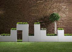 Grande jardinière blanche Tetris, Bysteel