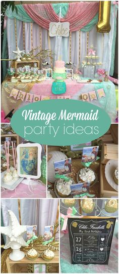 Such a pretty mermaid party in pink and mint green!  See more party ideas at CatchMyParty.com!