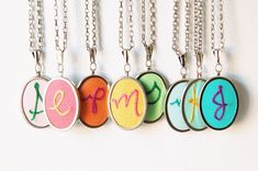 love these custom embroidery initial necklaces ::  by merriweathercouncil on etsy