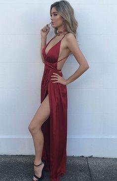 Sexy Burgundy Maxi dress,v neck evening dress,long formal dress,backless prom