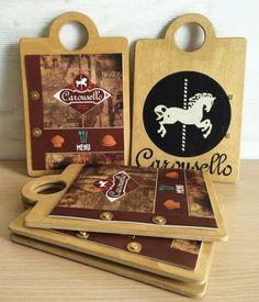 handmade menu catalogue by botsas designstudio for carousello bar restaurant