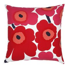 Pieni Unikko cushion by Marimekko. This stunning cushion features the iconic Marimekko poppy print in a bright, bold red and pink colour. Match with other striking cushions for a stylish look in the living room or in the bedroom. Modern Throw Pillows, Toss Pillows, Decorative Pillows, Accent Pillows, Cushion Covers, Pillow Covers, Red And Pink, Red And White, Pink White