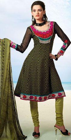 $58.38 Green Embroidered Cotton Anarkali Salwar Kameez 25549