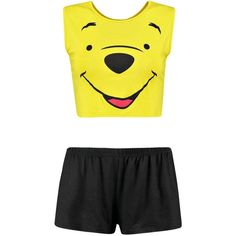 Disney Winnie Crop Vest and Short Set ($2.89) ❤ liked on Polyvore featuring disney
