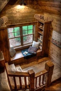 Cabins And Cottages: PIN The use of natural timber here makes the little nook under the window feel really comfy and warm. Its a place you want to sit in with a coffee and read a book.