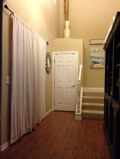 I Placed Curtains To Cover Front Door Keep The Heat Cold Air Out