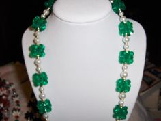 """""""Christmas Green and Pearl Lei"""" necklace --- $3.00 + $3.00 shipping in the USA"""