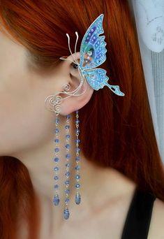 Set Of Two Ear Cuffs no piercing Moonstone Earrings Bridal cuff earrings Silver ear cuff Conch piercing - Custom Jewelry Ideas Cute Jewelry, Jewelry Accessories, Jewelry Design, Women Jewelry, Hippie Jewelry, Faux Piercing, Ear Piercings, Ear Gauges, Ear Cuff Jewelry
